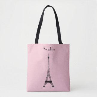 Tote Bag Tour Eiffel noir rose de Paris avec le nom
