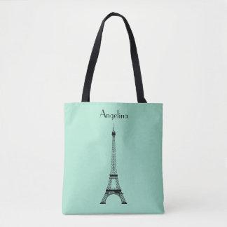 Tote Bag Tour Eiffel noir vert en bon état de Paris avec le