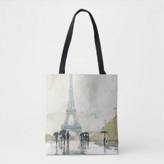 Tote Bag Tour Eiffel   Paris sous la pluie