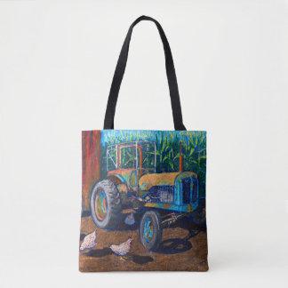 Tote Bag Tracteur et poulets bleus antiques de ferme