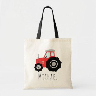 Tote Bag Tracteur rouge et nom de la ferme du bébé mignon