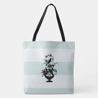 Tote Bag Traditionnel-Celadon-Blanc-Domaine-Rayures-M-l