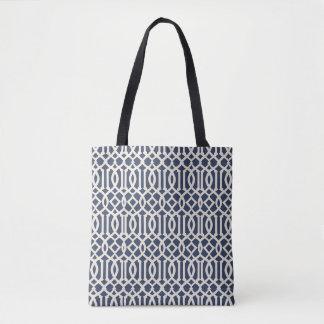 Tote Bag Treillis impérial de bleu marine modelé