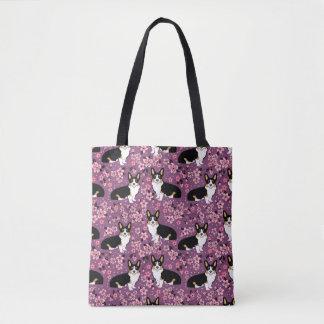 Tote Bag Tri fleurs de cerisier colorées de corgi - pourpre