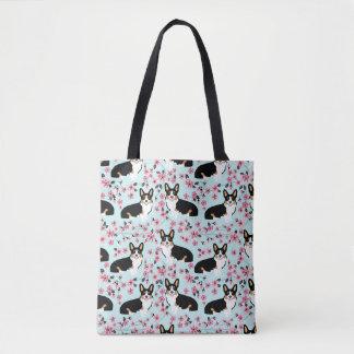 Tote Bag Tri fleurs de cerisier de corgi - bleu