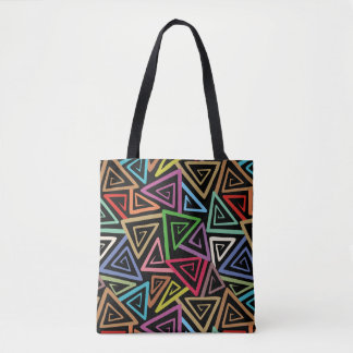 Tote Bag Triangles croulantes de résumé multicolore