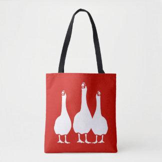 Tote Bag Trois oies blanches sur le rouge