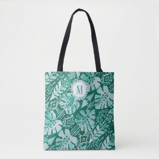 Tote Bag Tropical vert hawaïen de la JUNGLE IKAT de