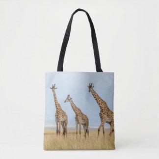 Tote Bag Troupeau de girafe dans la prairie
