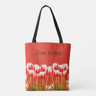 Tote Bag Tulipes rouges et blanches