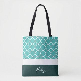 Tote Bag Turquoise personnalisée Quatrefoil avec le fond