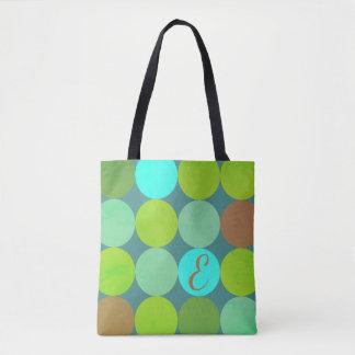Tote Bag Turquoise turquoise de vert de chaux et monogramme