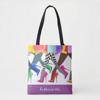 Tote Bag Typographie colorée de talons hauts et de jambes