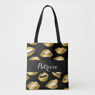 Tote Bag Typographie de lèvres d'or d'Expressional