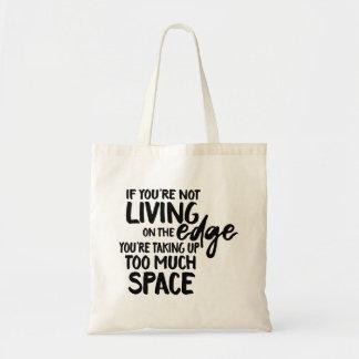 Tote Bag Typographie drôle d'énonciation vivant sur le bord