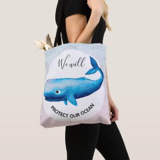 Tote Bag Typographie marine de baleine d'Ombre de