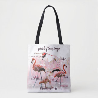Tote Bag Typographie rose | de flamant customisé