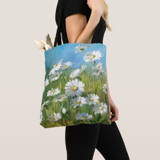 Tote Bag Un champ des marguerites blanches