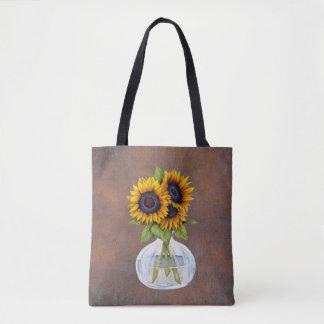 Tote Bag Vase de beaux tournesols sur Brown rustique