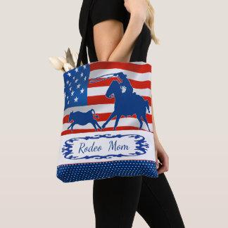 Tote Bag Veau Roping la maman de rodéo de drapeau américain