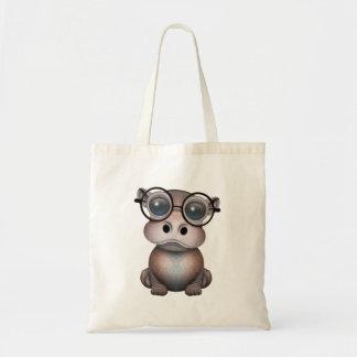 Tote Bag Verres de port d'hippopotame ringard mignon de