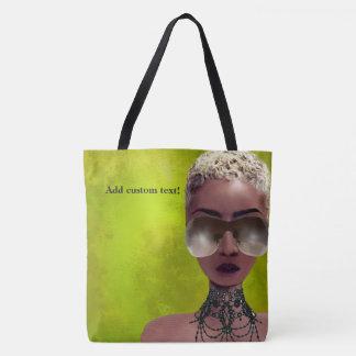 Tote Bag Vert blond d'art noir de beauté de baie de