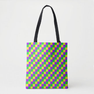 Tote Bag Vert de mardi gras, jaune, pourpre Checkered