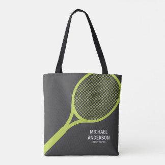 Tote Bag Vert nommé personnalisé et gris de raquette de