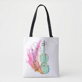 Tote Bag Violon assez coloré Fourre-tout d'aquarelle
