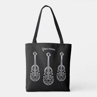 Tote Bag Violons élégants sur le noir
