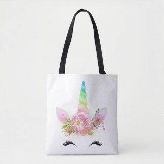 Tote Bag Visage Fourre-tout de licorne d'arc-en-ciel