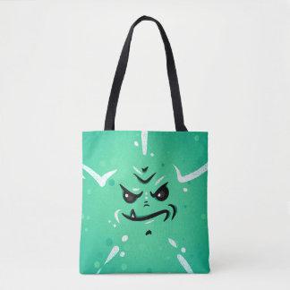Tote Bag Visage vert drôle de monstre avec le sourire de