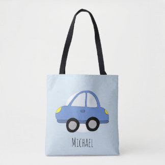 Tote Bag Voiture bleue de l'automobile du garçon mignon