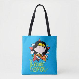 Tote Bag Vol de femme de merveille de Chibi avec le lasso