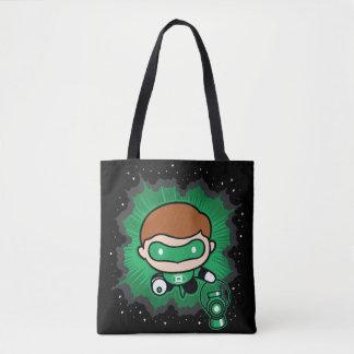 Tote Bag Vol vert de lanterne de Chibi par l'espace