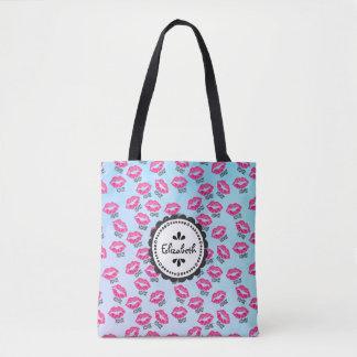 Tote Bag XOXO ! Motif avec les lèvres roses sexy de Kissy