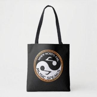 Tote Bag Yin Yang avec des mots de musique