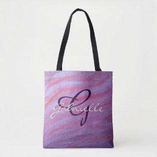 Tote Bag Zèbre chic pourpre rose fait sur commande