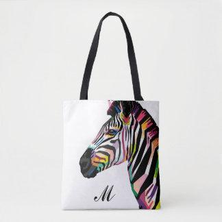 Tote Bag Zèbre coloré d'art de bruit décoré d'un monogramme