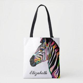 Tote Bag Zèbre coloré personnalisé d'art de bruit