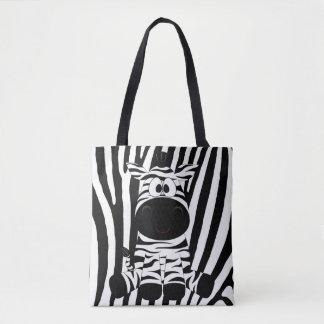 Tote Bag Zèbre de bébé avec le bagout noir et blanc