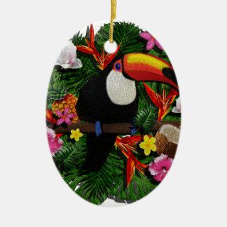 Toucan Ornement Ovale En Céramique