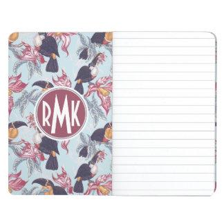 Toucans avec le monogramme exotique des fleurs | carnet de poche