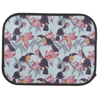 Toucans avec les fleurs exotiques tapis de sol