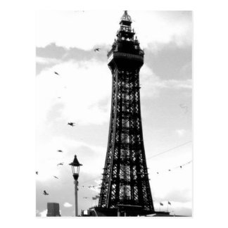 Tour de Blackpool et courrier B/W de lampe Cartes Postales