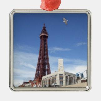 Tour de Blackpool Ornement Carré Argenté