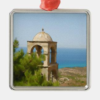 Tour de cloche d'aquarelle ornement carré argenté