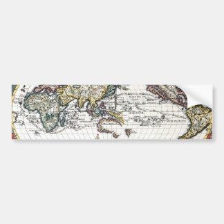 Tour de la carte du 18ème siècle du monde autocollant pour voiture