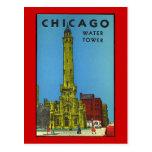 Tour d'eau vintage de Chicago Carte Postale
