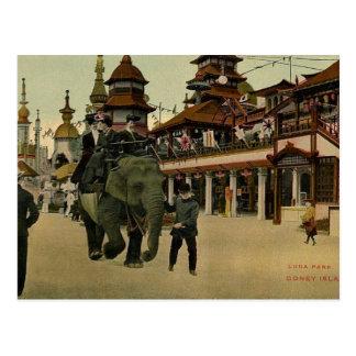 Tour d'éléphant en Luna Park, Coney Island, 1910 Carte Postale